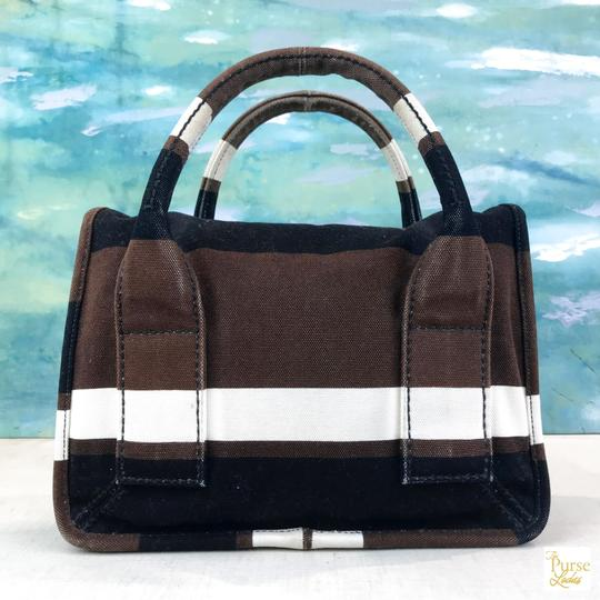 Prada Striped Canvas Canapa Satchel in Brown Image 8