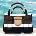 Prada Striped Canvas Canapa Satchel in Brown Image 9