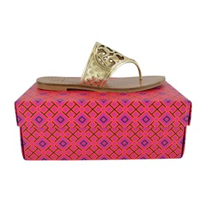 Tory Burch Thatched Perforated Logo Thong Platinum Sandals