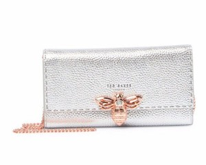 831c3dd7040 Ted Baker Janese Matinee Wallet Chain Bee Crystal Embellished Silver Clutch