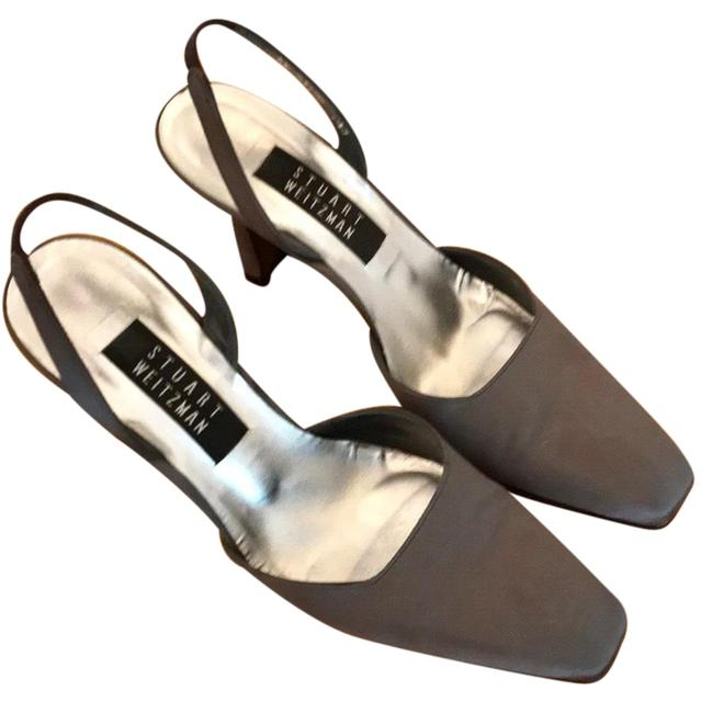 Item - Metallic Grey Evening Sateen Slingback Heels Formal Shoes Size US 7 Regular (M, B)