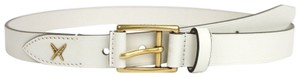 Gucci White Leather Belt Gold Buckle Feather Detail 90/36 375182 9022