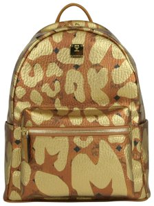 MCM Copper/Gold Coated Canvas Leopard Print Backpack