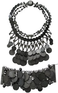Givenchy Gunmetal Disc Charm Crystal Statement Bib Necklace Bracelet Set
