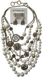 Givenchy 4G Logo Pearl Crystal Chain Statement Bib Necklace Earrings Set