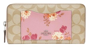 Coach Coach Accordion Zip Wallet In Signature Canvas With Painted Peony Print Pocket