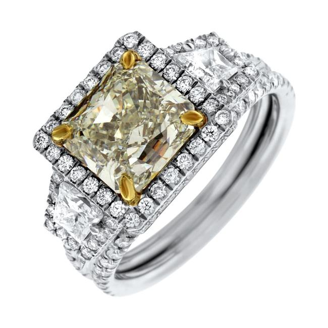 Item - Natural Light Yellow Platinum with Center 3.00ct Fancy Engagement Ring
