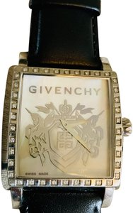 Givenchy Givenchy mother of pearl & Diamond leather strap watch