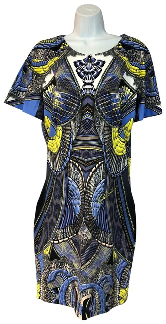 Item - Multicolor Printed Stretchy Polyamide Shift 46 Short Casual Dress Size 12 (L)