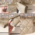 Chanel Long light beige diamond quilted Lambskin Continental CC flap wallet Image 8