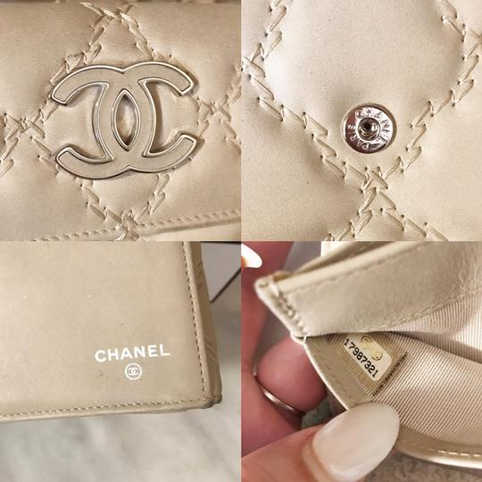 Chanel Long light beige diamond quilted Lambskin Continental CC flap wallet Image 9