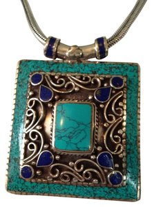 Turquoise & Lapis Gemstone In Silver Necklace