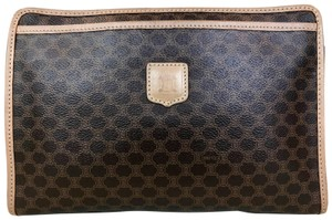 Céline Macadam Canvas Cosmetic Pouch Brown Clutch