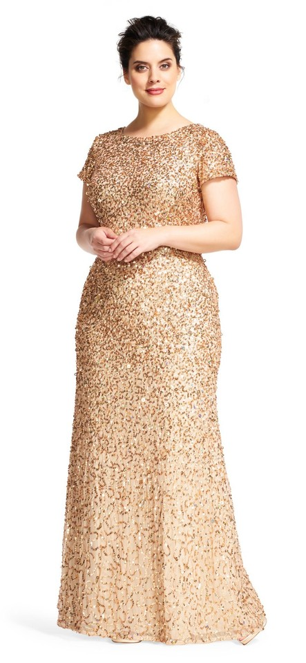 8e5b2f60ea71 Adrianna Papell Champagne Gold Scoop Back Sequin Gown Long Formal ...