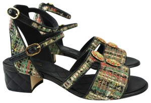 Chanel Sanda Tweed Leather Quilted Black Multi Pumps