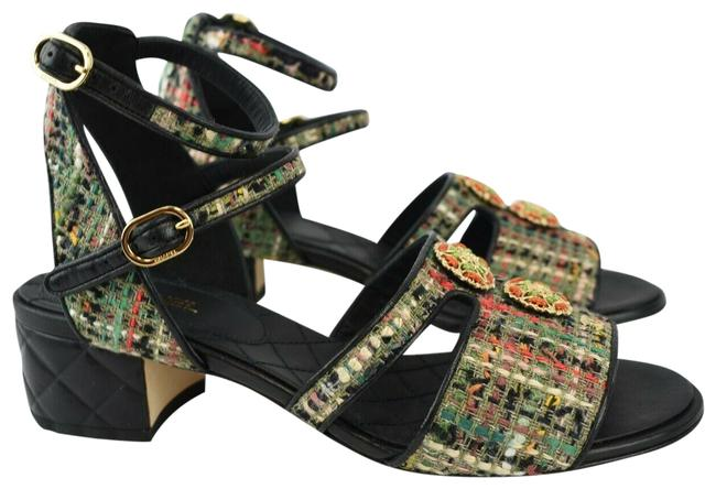 Item - Multicolor 6.5 Sandals Tweed Leather Quilted Black Cc Buckle Pumps Size EU 37 (Approx. US 7) Regular (M, B)