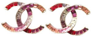 Chanel Chanel S/S 2015 Silver & Multicolored Crystal CC Logo Stud Earring