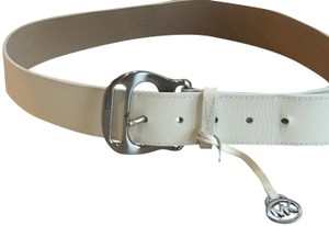 Michael Kors Signature silver belt with logo charm