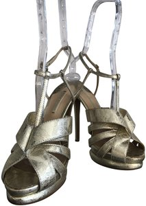 Nicholas Kirkwood Metallic Lace Gold Platforms