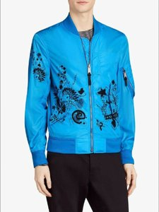 Burberry Bright Blue Nylon Doodle Print Bomber Jacket 46 Eu / 36 Us 4068360 Groomsman Gift