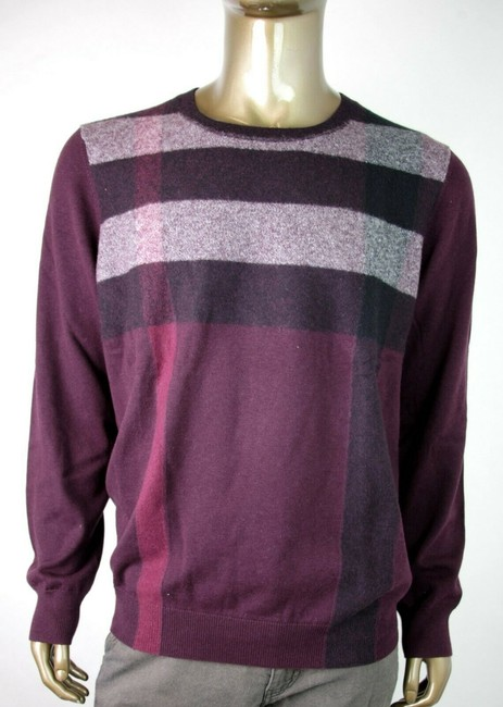 Burberry Burgundy Men's London Striped Pullover Sweater 2xl 4015919 Groomsman Gift Burberry Burgundy Men's London Striped Pullover Sweater 2xl 4015919 Groomsman Gift Image 1