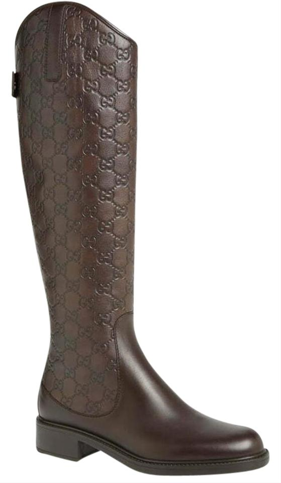 df03ff93357 Gucci Brown Maud 7.5 Tall Riding Guccissima Embossed Leather Boots/Booties  Size EU 37.5 (Approx. US 7.5) Regular (M, B) 52% off retail