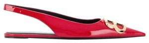Balenciaga Logo Plaque Pointed Toe Made In Italy Leather Sole Slingback Red Flats