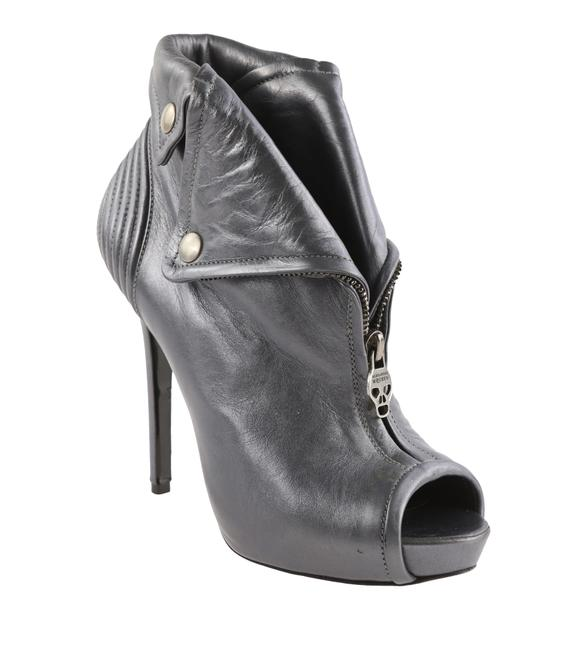 Item - Gray Peep-toe Ankle Boots/Booties Size EU 37 (Approx. US 7) Narrow (Aa, N)