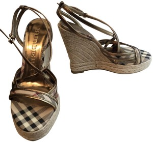 Burberry Gold Wedges