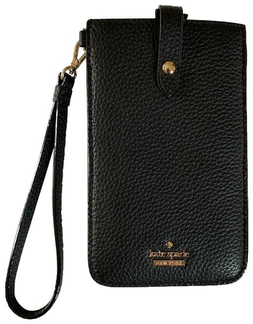 Item - Free Shipping Black with Gold Hardware Leather Wristlet