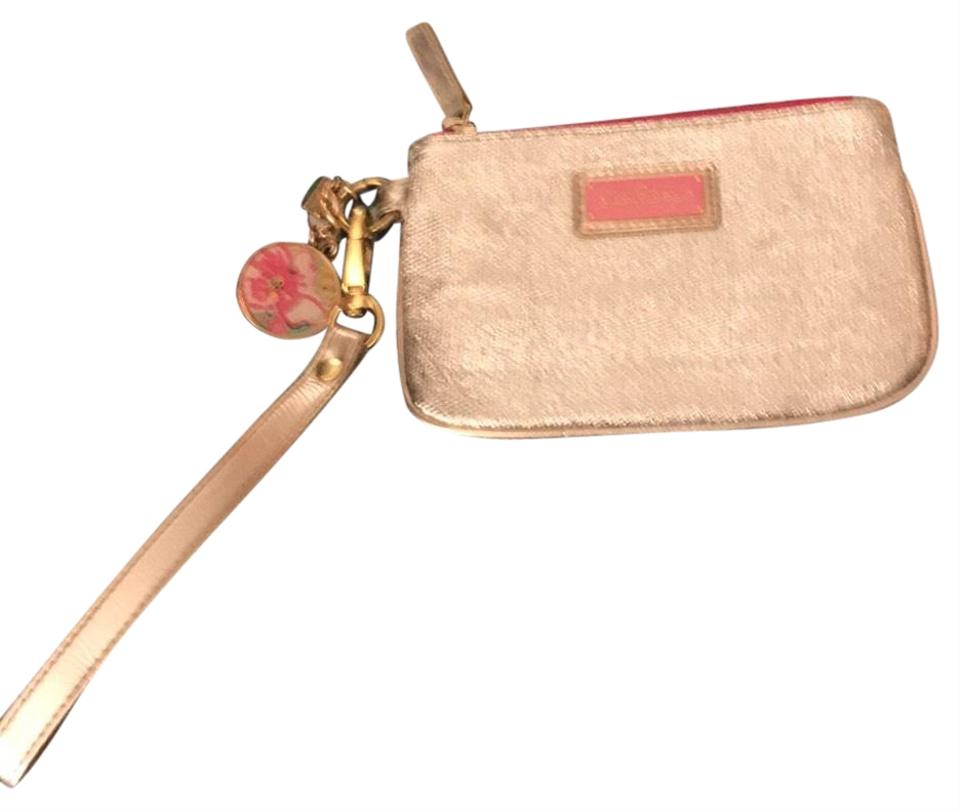 Lilly Pulitzer Textured Poly Gold Metallic Wristlet 51% Off Retail