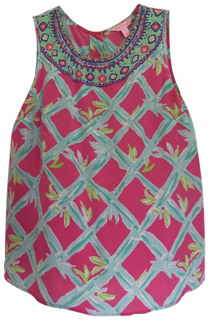 Item - Pink/Turquise/White Blouse Size 6 (S)