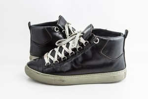 Balenciaga Black Leather Arena High Top Sneakers Shoes