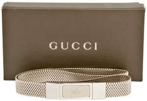 Gucci GUCCI Shiny Silver-Tone Chain Link Chainlink Mesh Belt Very Rare 25