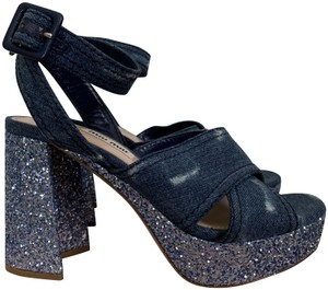 Miu Miu Ankle Strap Sandals Denim Blue Platforms