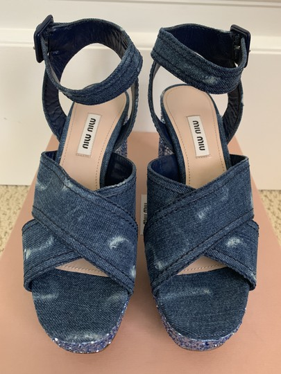 Miu Miu Ankle Strap Sandals Denim Blue Platforms Image 3