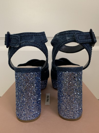 Miu Miu Ankle Strap Sandals Denim Blue Platforms Image 6