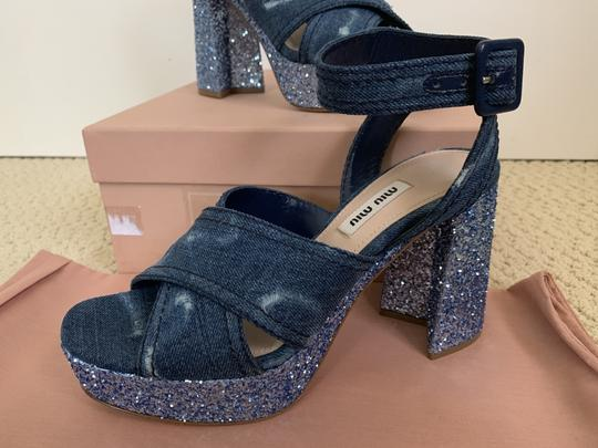 Miu Miu Ankle Strap Sandals Denim Blue Platforms Image 9