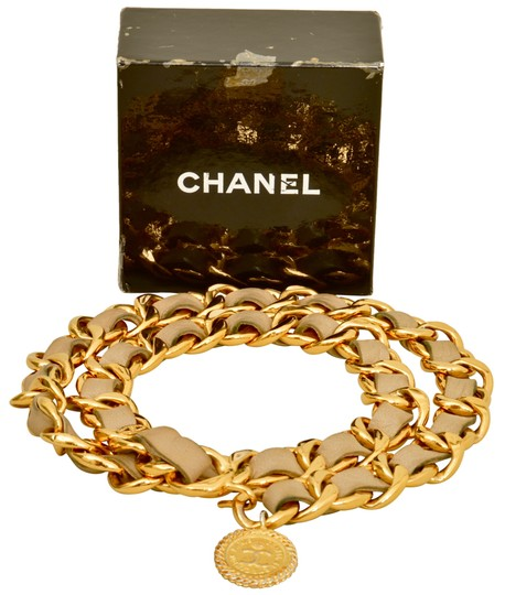Chanel Gold Plated Chain CC Pendant and Beige Leather Belt One Size Fits All Image 1