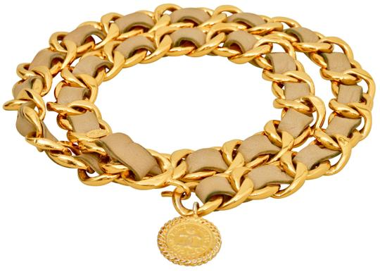 Chanel Gold Plated Chain CC Pendant and Beige Leather Belt One Size Fits All Image 2