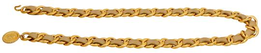 Chanel Gold Plated Chain CC Pendant and Beige Leather Belt One Size Fits All Image 7