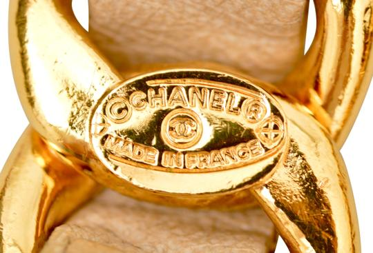 Chanel Gold Plated Chain CC Pendant and Beige Leather Belt One Size Fits All Image 8
