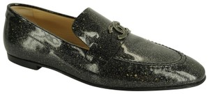 Chanel Loafers Moccasin Cc Patent Leather Grey Flats