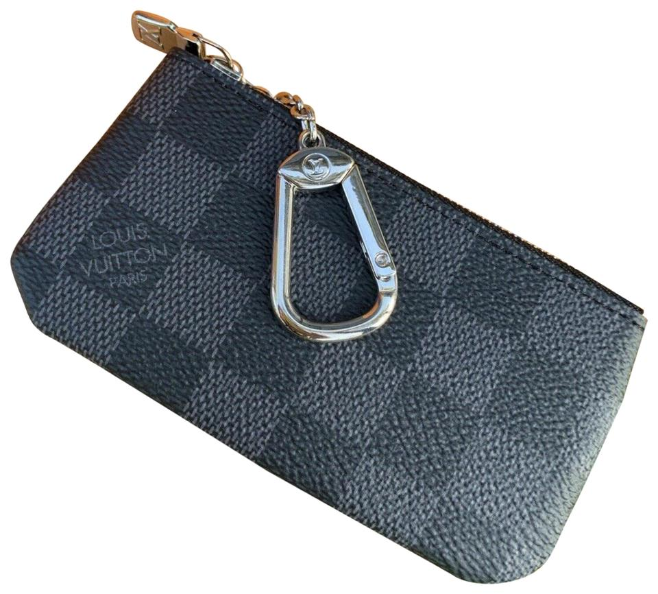 low priced 07f72 6b87b Louis Vuitton Pouch Pochette Sold 7/23/19 Onlin[ebay Sold] Key Cles 870613  Black Damier Graphite Canvas Clutch