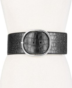 Michael Kors Black Croc embossed leather wide waist belt size Medium