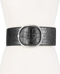 Michael Kors Black Croc embossed leather wide waist belt size Large