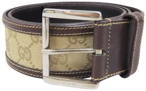 Gucci Gucci Gg Brown Canvas Belt