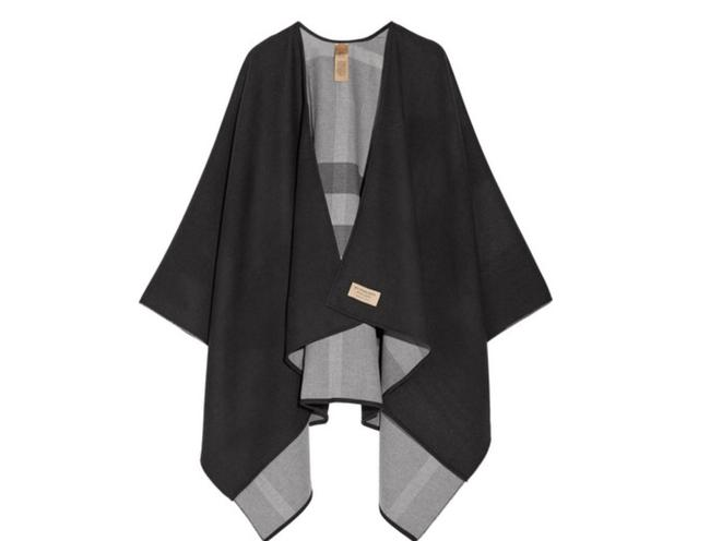 Item - Black with Grey Check Merino Wool Reversible Coated Cape Scarf/Wrap