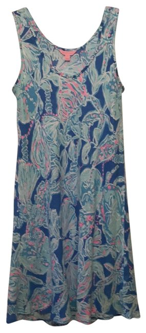 Item - Bay Blue Into The Deep. Multi Pink Blue White Patterson Tank Style Short Casual Dress Size 4 (S)