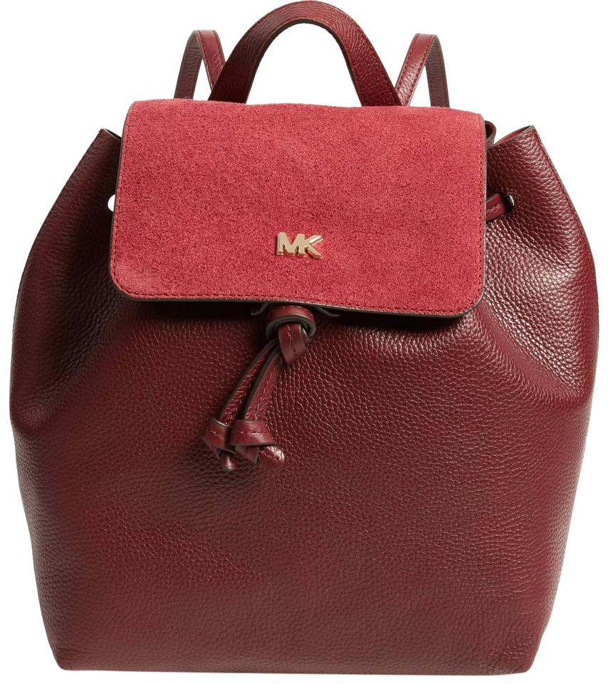 a3b6fb9f4050 Michael Kors Junie Suede Flap Red Leather Backpack - Tradesy